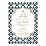 Navy Blue Gold Moroccan Gender Neutral Baby Shower Announcements