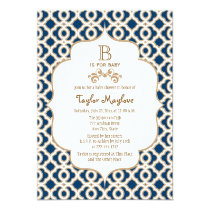 Navy Blue Gold Moroccan Gender Neutral Baby Shower Invitation