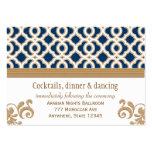 Navy Blue Gold Moroccan Reception Enclosure Card