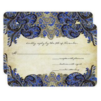 Navy Blue Gold Paisley Peacock Colors Wedding RSVP Card