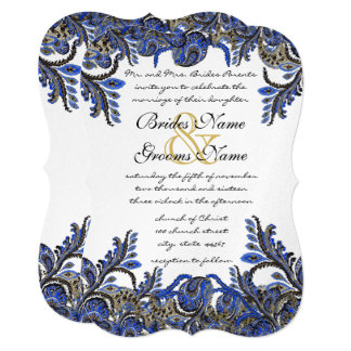 Navy Blue & Gold Peacock Damask Wedding Invite