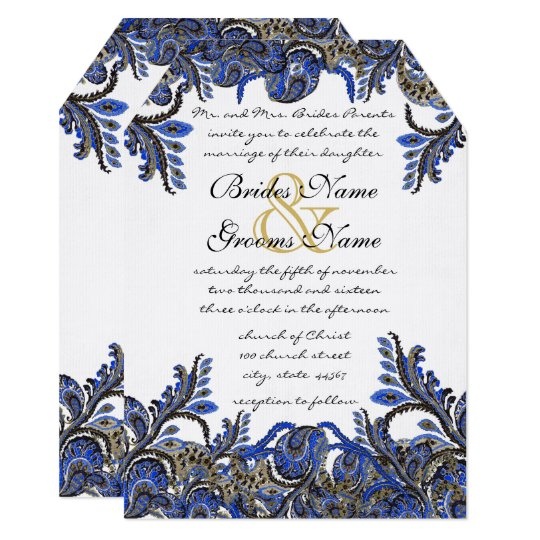Navy Blue & Gold Peacock Paisley Wedding Invite | Zazzle.com