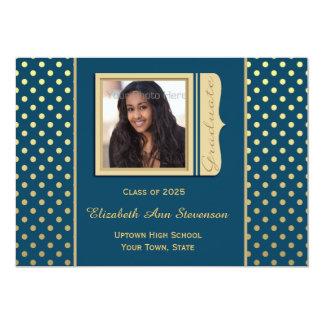 Navy Blue, Gold Polka Dots, Graduation Photo Personalized Invites