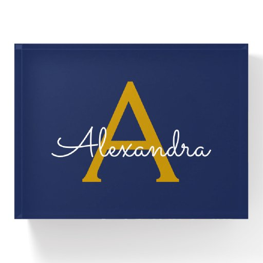 Navy Blue Gold Professional Business Monogram Name Paperweight