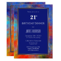 Navy Blue Gold Red Watercolor 21st Birthday Dinner Invitation