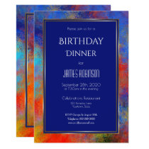 Navy Blue Gold Red Watercolor Birthday Dinner Invitation