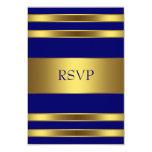 Navy Blue Gold RSVP 3.5x5 Paper Invitation Card