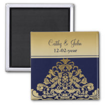 """navy blue"" gold Save the date magnet"