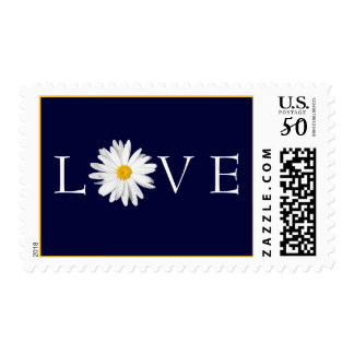 Navy Blue, Gold, Shasta Daisy Flower Love Postage