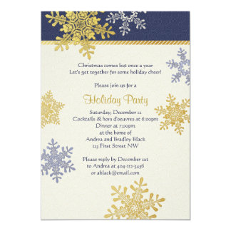 Navy Blue Gold Snowflake Winter Christmas Holiday Card