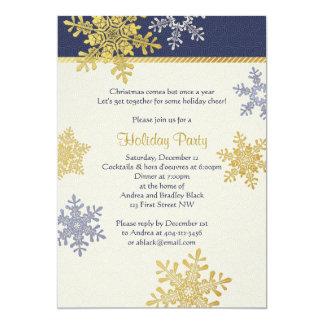 "Navy Blue Gold Snowflake Winter Christmas Holiday 5"" X 7"" Invitation Card"