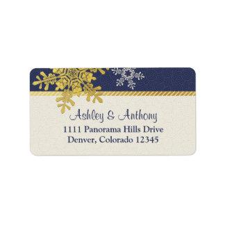 Navy Blue Gold Snowflake Winter Wedding Address Address Label