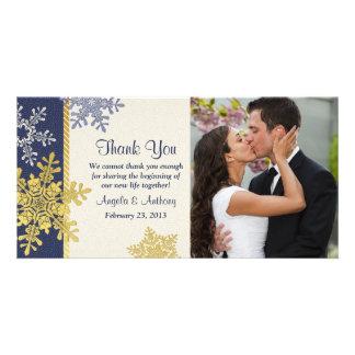 Navy Blue Gold Snowflake Winter Wedding Thank You Photo Card