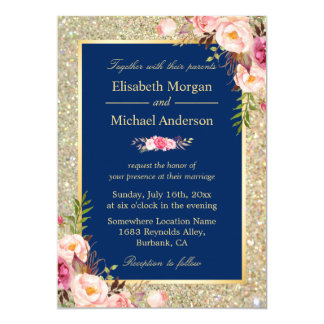 Navy Blue Gold Sparkles Pink Floral Wedding Invitation