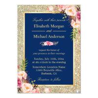 Navy Blue Gold Sparkles Pink Floral Wedding Invite