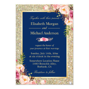 navy and pink wedding invitations zazzle