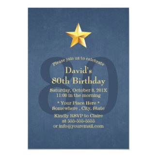 Navy Blue Gold Star 80th Birthday Party Card