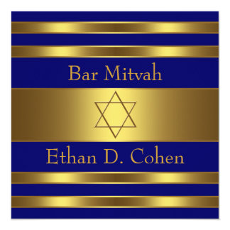 Navy Blue Gold Star of David Bar Mitzvah Invite
