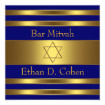 "Navy Blue Gold Star of David Bar Mitzvah 5.25"" Square Invitation Card"