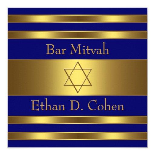 Navy Blue Gold Star of David Bar Mitzvah 5.25x5.25 Square Paper Invitation Card