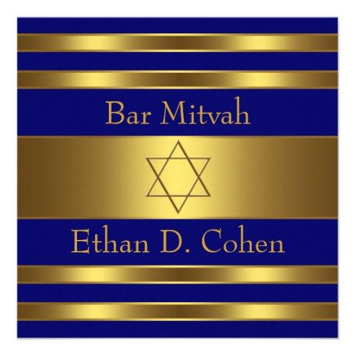 Navy Blue Gold Star of David Bar Mitzvah Invite