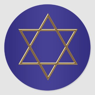 Navy Blue Gold Star of David Stickers