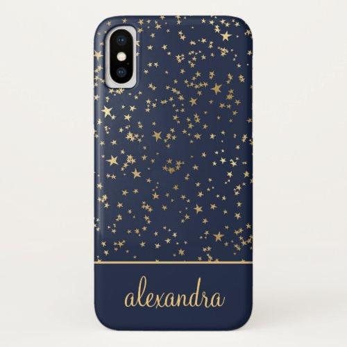 Navy Blue - Gold Stars Celestial Monogram Phone Case