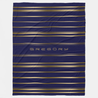 Navy Blue & Gold Stripes Pattern Fleece Blanket