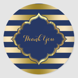 Navy Blue & Gold Stripes Thank You Sticker