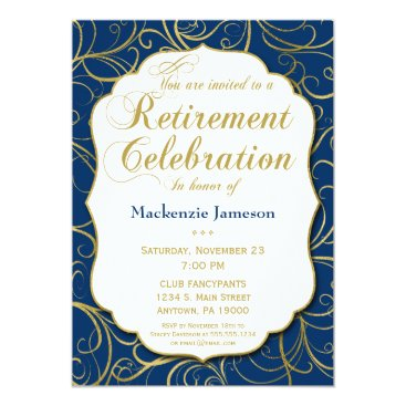 Lawyer Themed Navy Blue Gold Swirl Retirement Invitation
