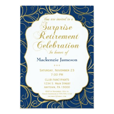 Lawyer Themed Navy Blue Gold Swirl Surprise Retirement Invite