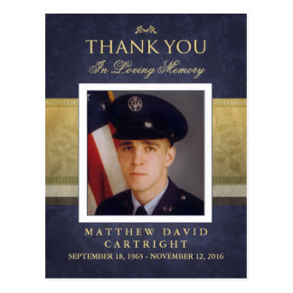 Navy Blue & Gold Sympathy Thank You Photo PostCard