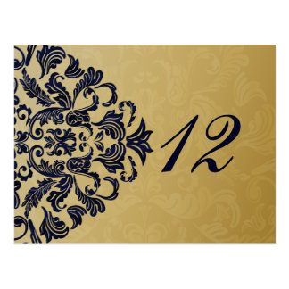 """navy blue"" gold table numbers postcards"