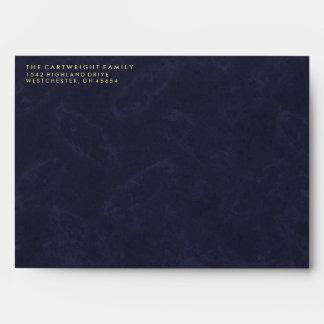 Navy Blue & Gold Textured Matching Memorial Envelope
