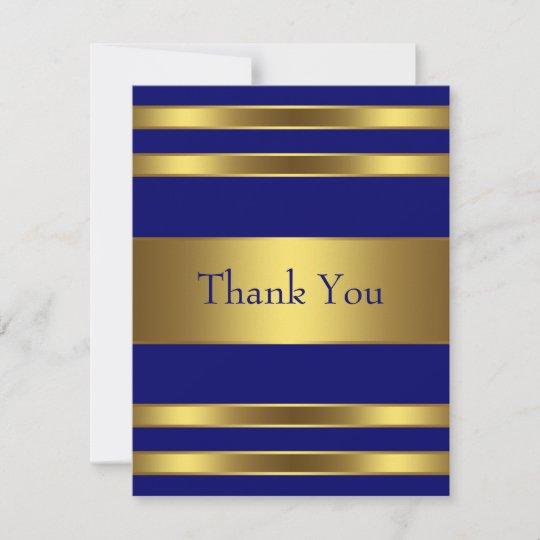 Navy Blue Gold Thank You Card Zazzle Com