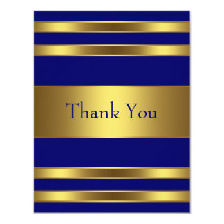 Navy Blue Gold Thank You Card