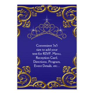 Navy Blue Gold Tiara RSVP All Purpose Card