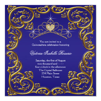 Navy Blue Gold Tiara Sweet 15 Quinceanera Personalized Invitation