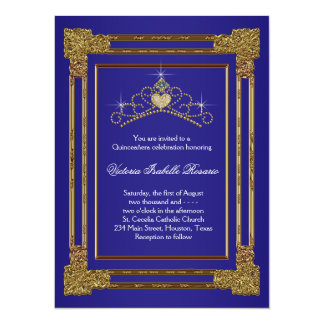 Navy Blue Gold Tiara Sweet 15 Quinceanera Custom Invitations