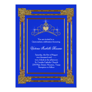 Navy Blue Gold Tiara Sweet 15 Quinceanera Personalized Invite