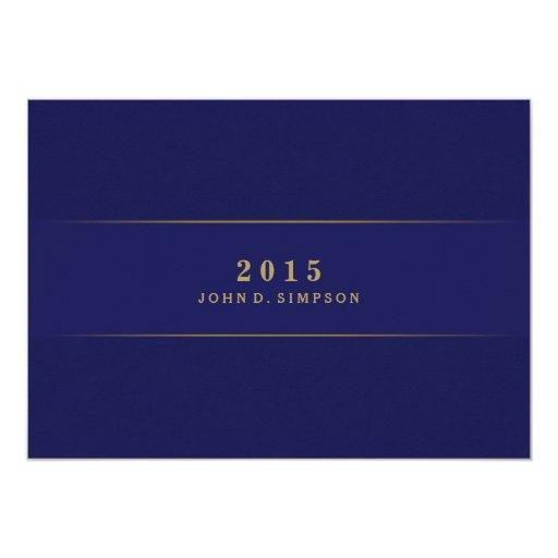 Navy Blue & Gold Ticket Graduation Invitation (back side)