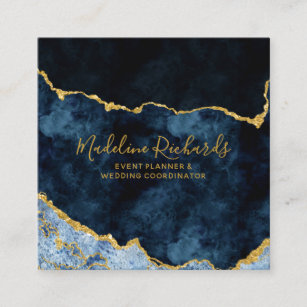 Navy blue business cards zazzle navy blue gold watercolor marble agate gilded square business card colourmoves