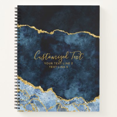 Navy Blue & Gold Watercolor Marble Agate Gilt Notebook