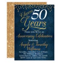 Navy Blue Gold Wedding Anniversary Invitation
