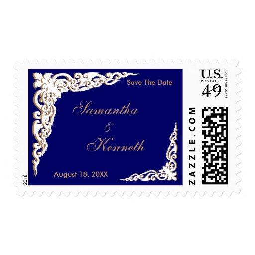 Navy Blue Gold Wedding Invitations Postage Stamp Zazzle
