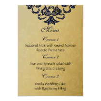 """navy blue"" gold wedding menu card"