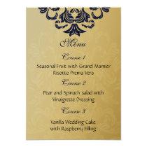 """navy blue"" gold wedding menu card"