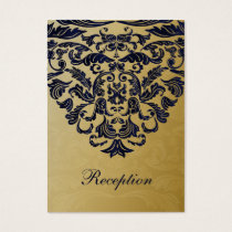 """navy blue"" gold wedding Reception Cards"