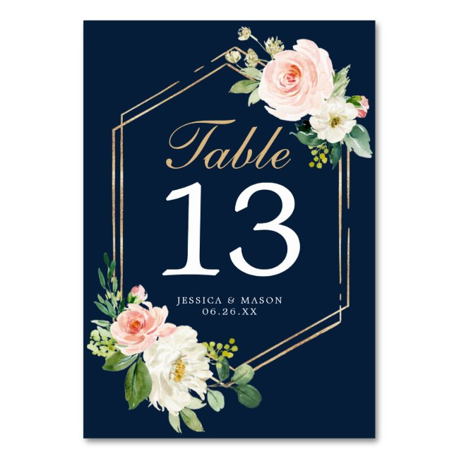 Navy Blue Gold Wedding Table Numbers Double Sided