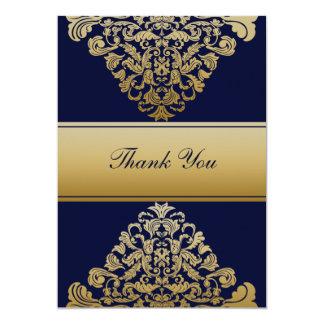 """navy blue"" gold wedding ThankYou Cards"